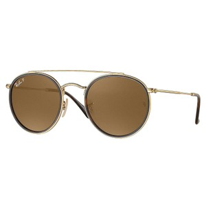 Ray-Ban Ray-Ban-Round Double Bridge Polarized Sunglasses Gold/ Brown RB3647N