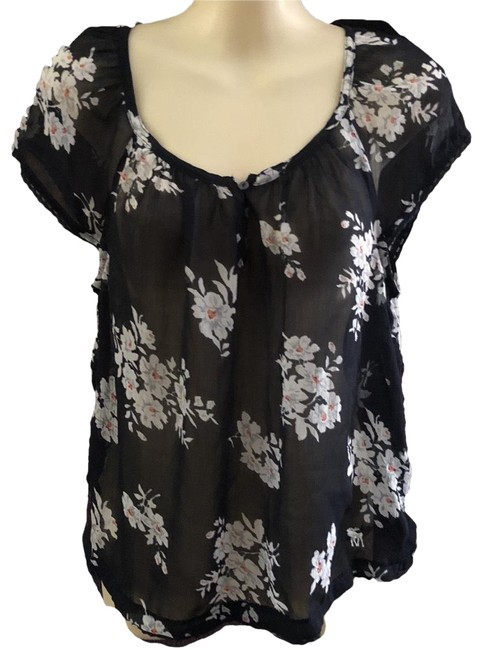 Item - Navy Blue White Floral Sheer Blouse Size 4 (S)