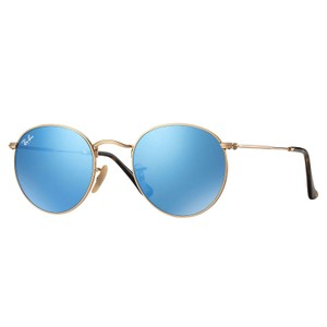 Ray-Ban Ray-Ban-Round Flat Lenses Sunglasses Gold/ Light Blue RB3447N