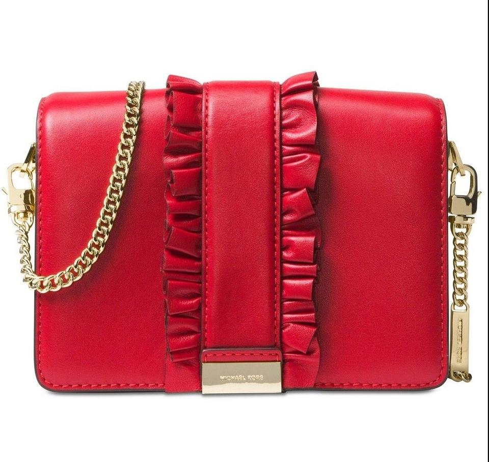 656931fb3521 Michael Kors Jade Medium Gusset Clutch Bright Red Leather Cross Body Bag