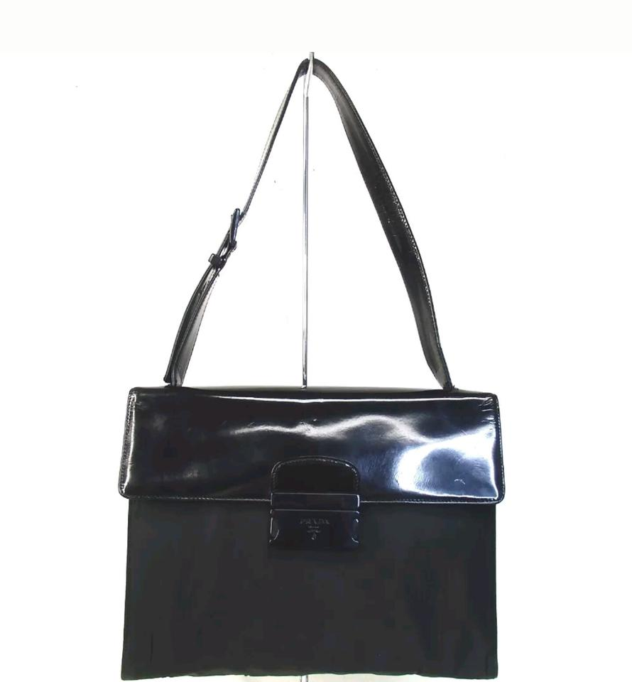020b3f2f05 Prada Shiny Enamel Nylon Logo Tote Hobo Black Silver Patent Leather ...