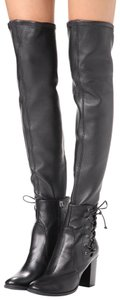 SCHUTZ Over The Knee Leather Detachable Laced Ankle Black Boots