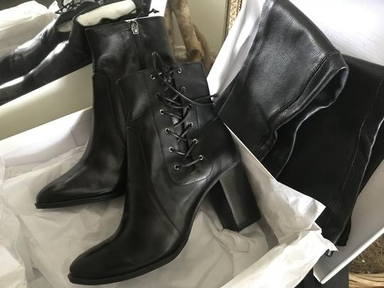 SCHUTZ Over The Knee Leather Detachable Laced Ankle Black Boots Image 2
