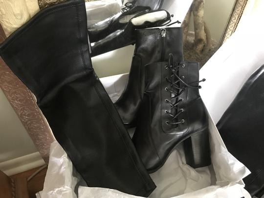 SCHUTZ Over The Knee Leather Detachable Laced Ankle Black Boots Image 3