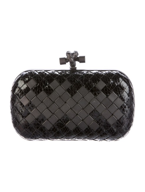 Item - Patent Intrecciato and Ayers Snakeskin Black Nappa Leather Clutch