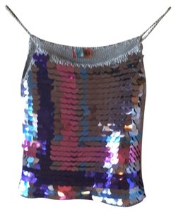 Petro Zillia Sequins Knit Made In Usa Metallic Top blue, purple, pink, silver