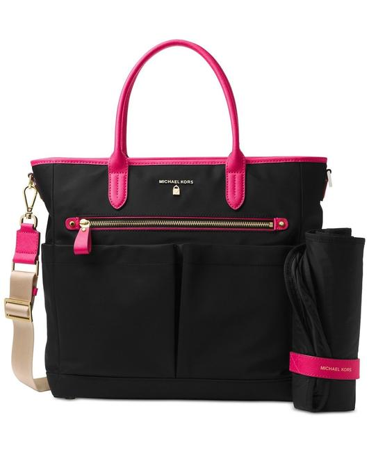 Item - Kelsey Large Black/Ultra Pink Nylon Diaper Bag