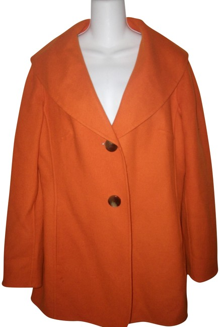 Item - Orange L Wool Shawl Collared Button Front Long Sleeve Jacket Size 12 (L)