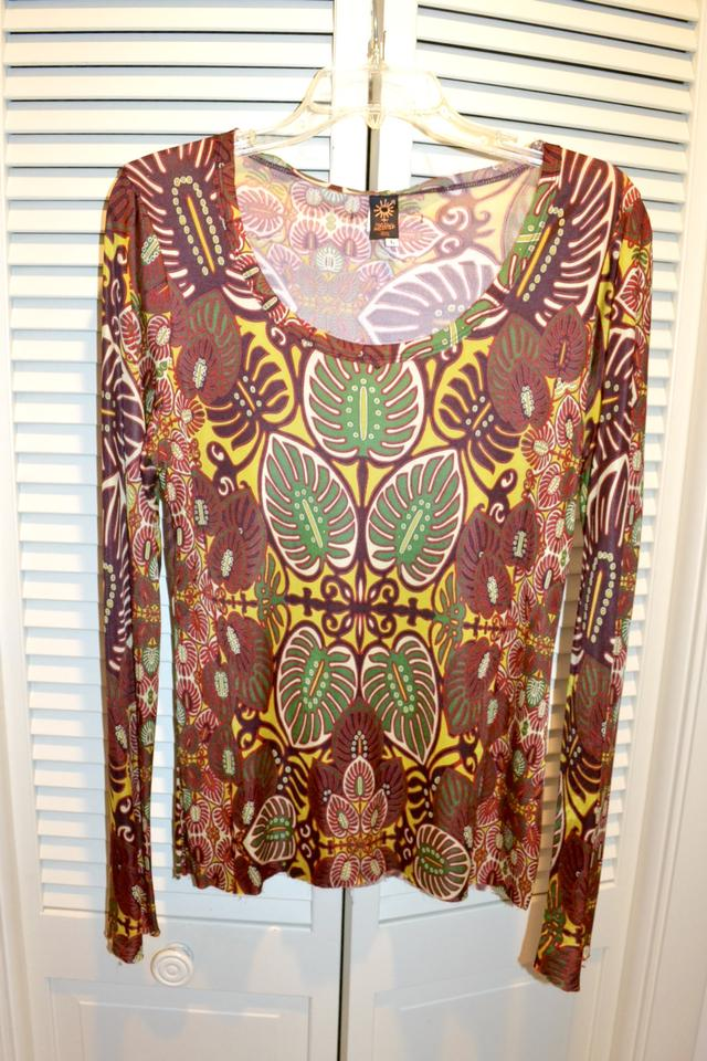 7bf884f50114 Jean-Paul Gaultier Brown Multi Fuzzi Soleil Long Sleeve T-shirt Colored  Blouse