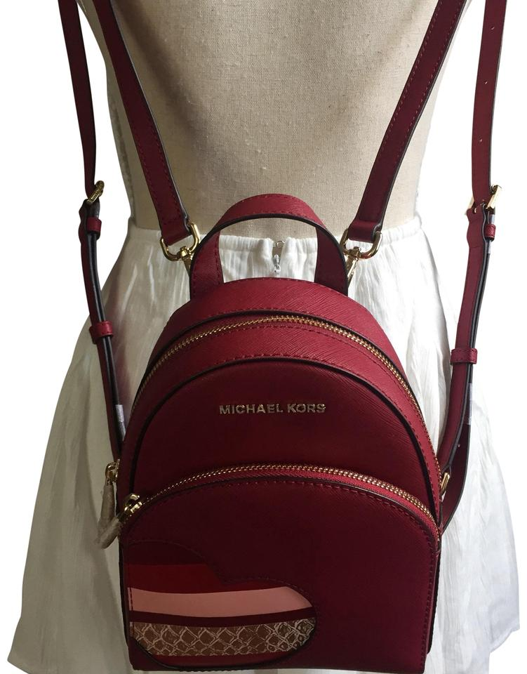 55a5c759e6e0 Michael Kors Abbey Xs Hearts Bookbag Cherry Backpack - Tradesy