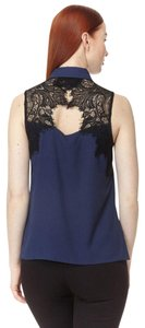Cooper & Ella Button Down Lace Work Office Evening Top navy