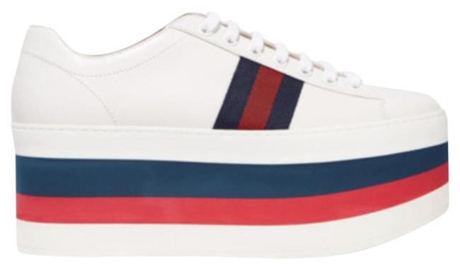 Item - White/Red/Blue Leather Low Top Platform Sneaker Wedges Size EU 38.5 (Approx. US 8.5) Regular (M, B)