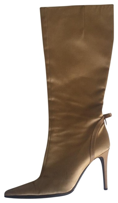 Item - Gold Satin Leather Boots/Booties Size US 7.5 Regular (M, B)