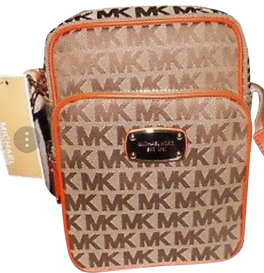 bcc462979880 Michael Kors Signature Flight Beige Tanngerine Canvas W Leather Trim ...