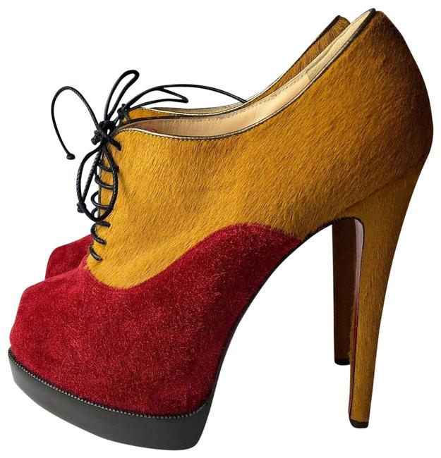 Item - Red Yellow Miss Poppins 140 Pony Suede Platform Ankle Boots/Booties Size EU 37 (Approx. US 7) Regular (M, B)