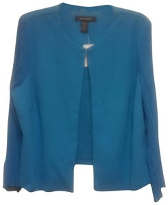 Ashley Stewart New With Tag Longsleeve Womens Cropped Jacket Pleated Sleeves Victoria Blue Blazer