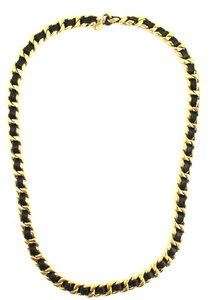 Chanel Extra wide long chain gold black leather necklace belt two way