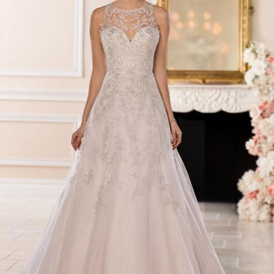Stella York Ivory Silver Lace and Tulle Over Moscato Gown with ...