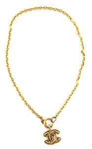 Chanel Medium Large CC long gold chain necklace quilted charm