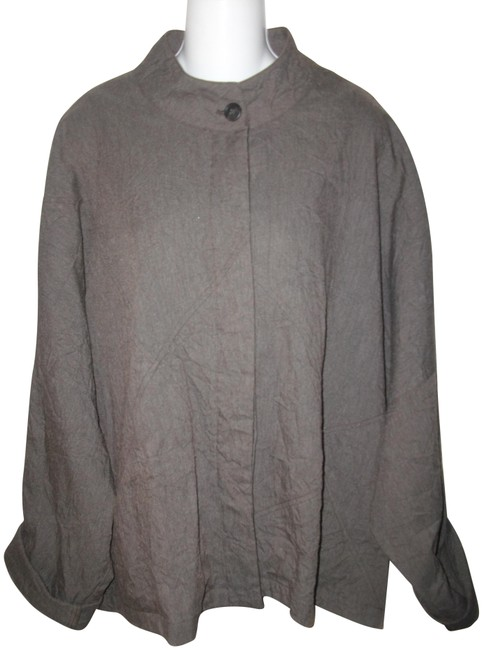 Item - Gray Button Front Cotton Crinkled Long Sleeve One Jacket Size 16 (XL, Plus 0x)