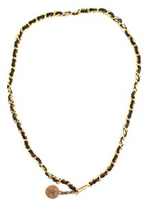 Chanel CC long chain gold black leather necklace belt two way Hammered charm