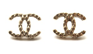 Chanel RARE CC Quilted timeless gold pierced stud earrings