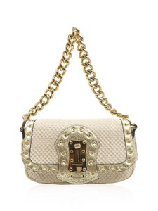 Versace Gold Metallic Wool Small Chain Strap Shoulder Bag