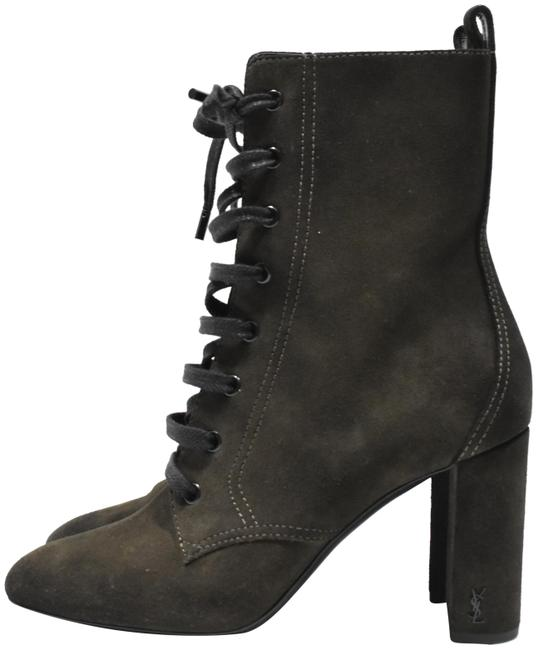 Item - Olive Gree Monogram Loulou Ysl Suede Lace Up Boots/Booties Size EU 38 (Approx. US 8) Regular (M, B)