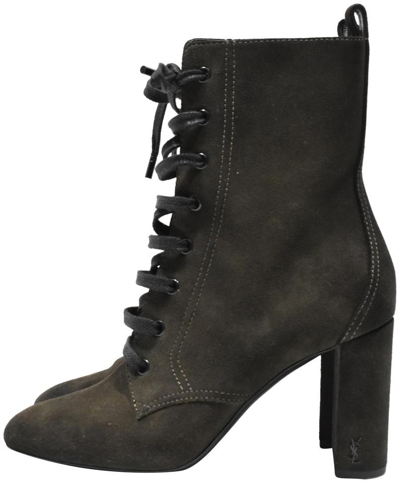 4f6201b4ca3 Saint Laurent Olive Gree Monogram Loulou Ysl Suede Lace Up Boots ...