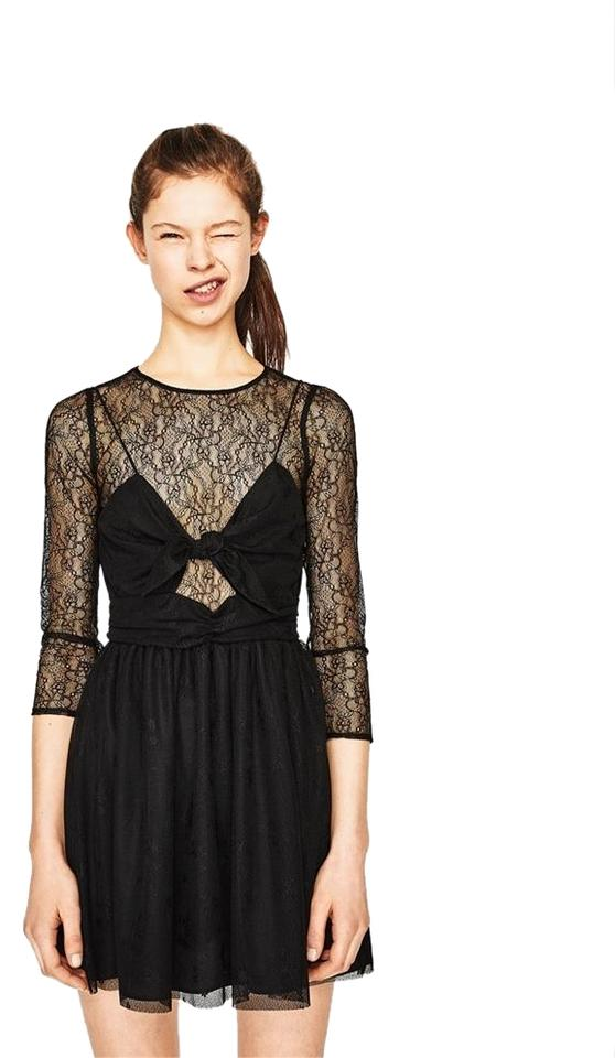 ef6bfa62b281a Zara Black Mini-dress with Lace & Bow 3/4 Long Sleeve New Short ...