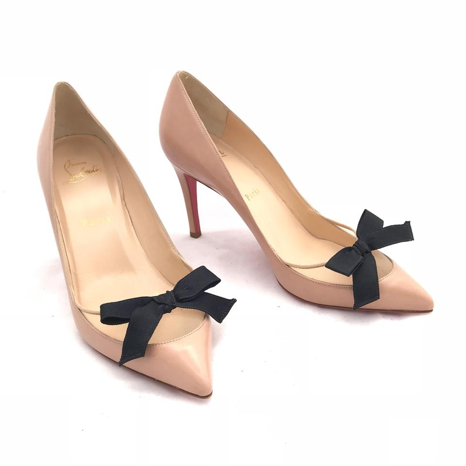 749ba3bdb7bf Christian Louboutin Leather Mesh Bow Pointed Toe Beige Pumps Image 0 ...
