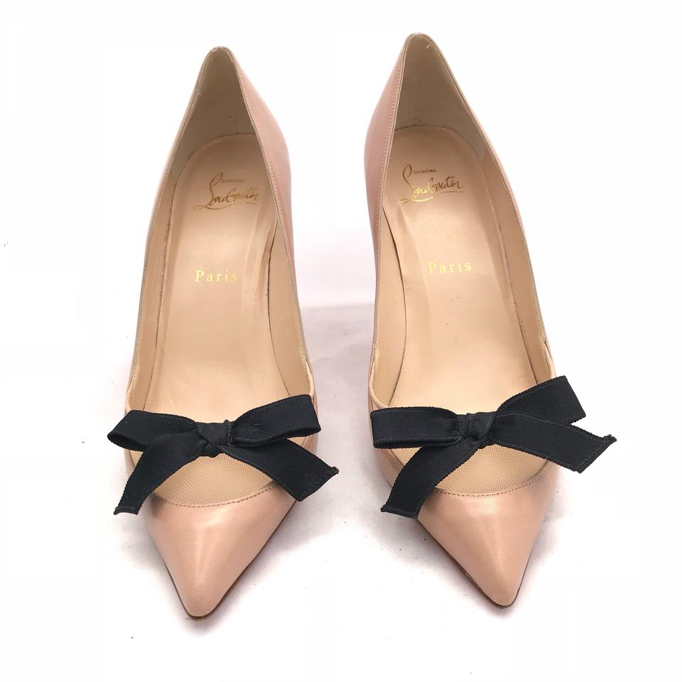 8288ecfeda70 Christian Louboutin Beige Bow On Mesh Pointed Toe Pumps Size EU 38 ...