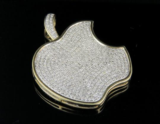 Jewelry Unlimited 10K Yellow Gold Iced Out Diamond Apple Logo Pendant 1.45ct 1.5