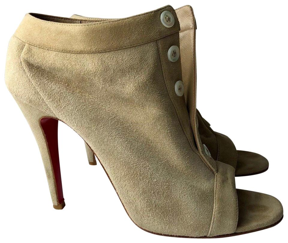 0bb7f8e1a9b Christian Louboutin Beige Maotic 100 Taupe Suede Buttoned Ankle ...