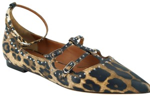 Givenchy Strappy Pointed Toe Ballerina Mary Jane Brown Flats