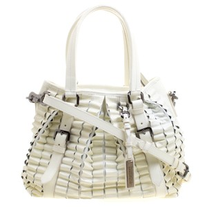 Burberry Cartridge Patent Leather Lowry Tote in White