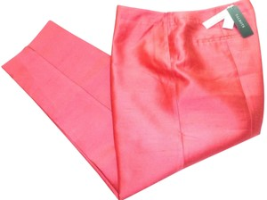 Talbots Signature Silk Ankle Capri/Cropped Pants Coral Pink