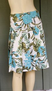 Ann Taylor LOFT Pleated Floral Aqua Skirt Multi