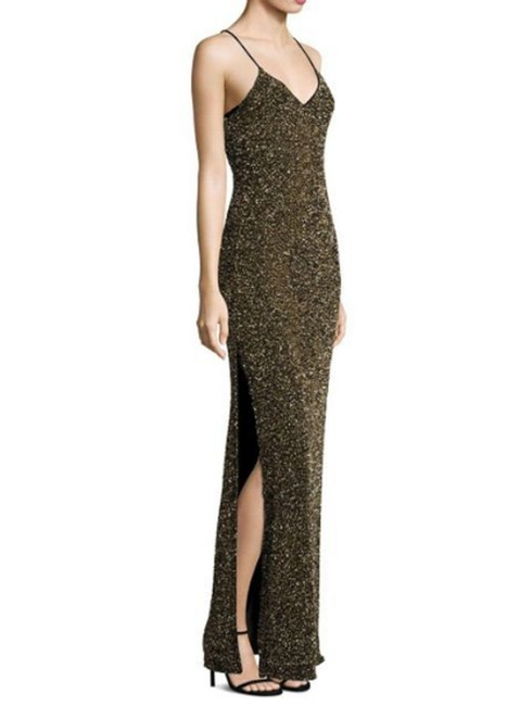 Alice + Olivia Brown Women's Stila Embellished Side-slit Gown Long Formal Dress Size 6 (S) Alice + Olivia Brown Women's Stila Embellished Side-slit Gown Long Formal Dress Size 6 (S) Image 1