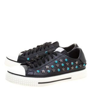 Valentino Leather Star Studded Low Top Sneakers Black Formal