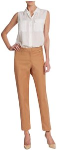 Ellen Tracy Front Zip Pockets Leg Ankle Leg Back Welt Pocket 97% Cotton Straight Pants Beige