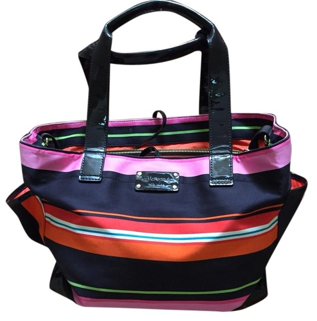 Item - Pink Orange and Black Striped Coated Canvas Diaper Bag