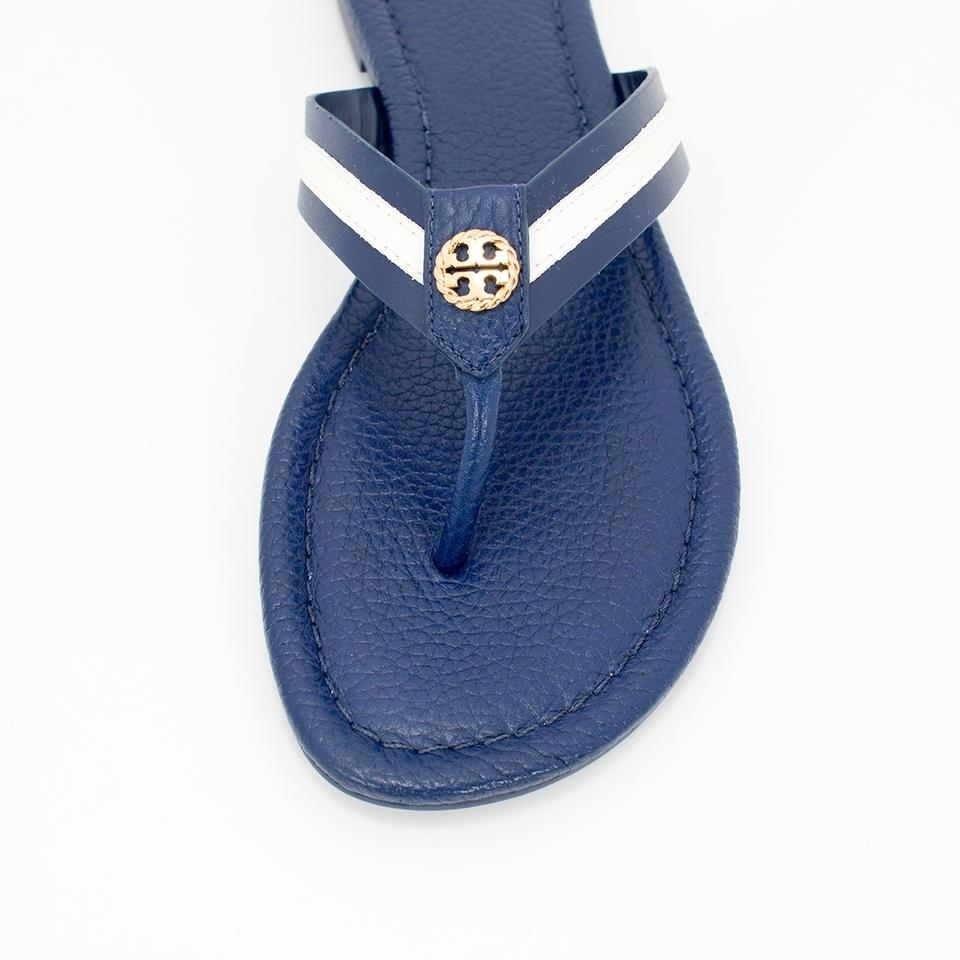 6b593f7dc44 Tory Burch Navy Sea White Maritime Thong Sandals Size US 8 Regular ...