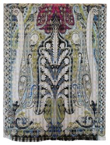 Etro NEW! Milano Italy Silk Paisley Long Scarf Blue Black Beige Magenta