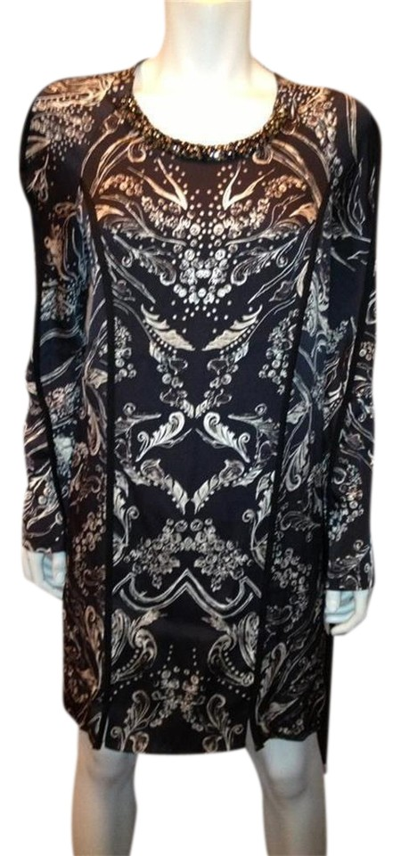 4f831f2fa7c64d 3.1 Phillip Lim Black White Beaded Embellished Neck Long Sleeve Printed  Silk Casual Dress