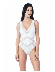 2ca6dfbfea Kenneth Cole Reaction NWT KENNETH COLE WHITE ALL MESHED UP PLUNGE MIO 1  PIECE SWIMSUIT S