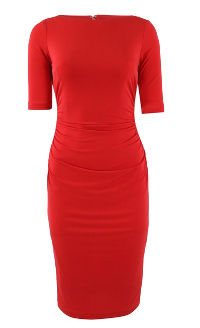 Item - Red Ruched Sheath Mid-length Work/Office Dress Size 4 (S)