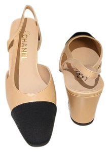 b18cbf0943a Chanel Slingbacks Two Tone Cc Slingback Size 37 Beige Black Pumps