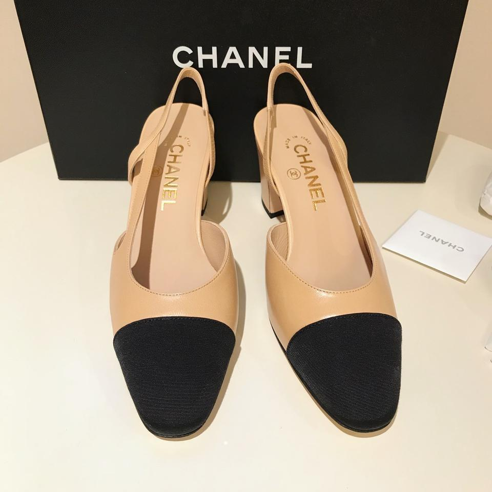 210bc1a83aa Chanel Beige Black 37 Two-tone Leather Slingbacks Pumps Size US 7 ...