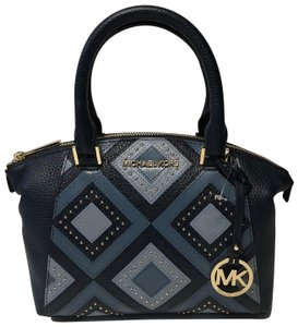 Michael Kors Riley Satchel Leather Quilted Tote in Pale Blue/Navy
